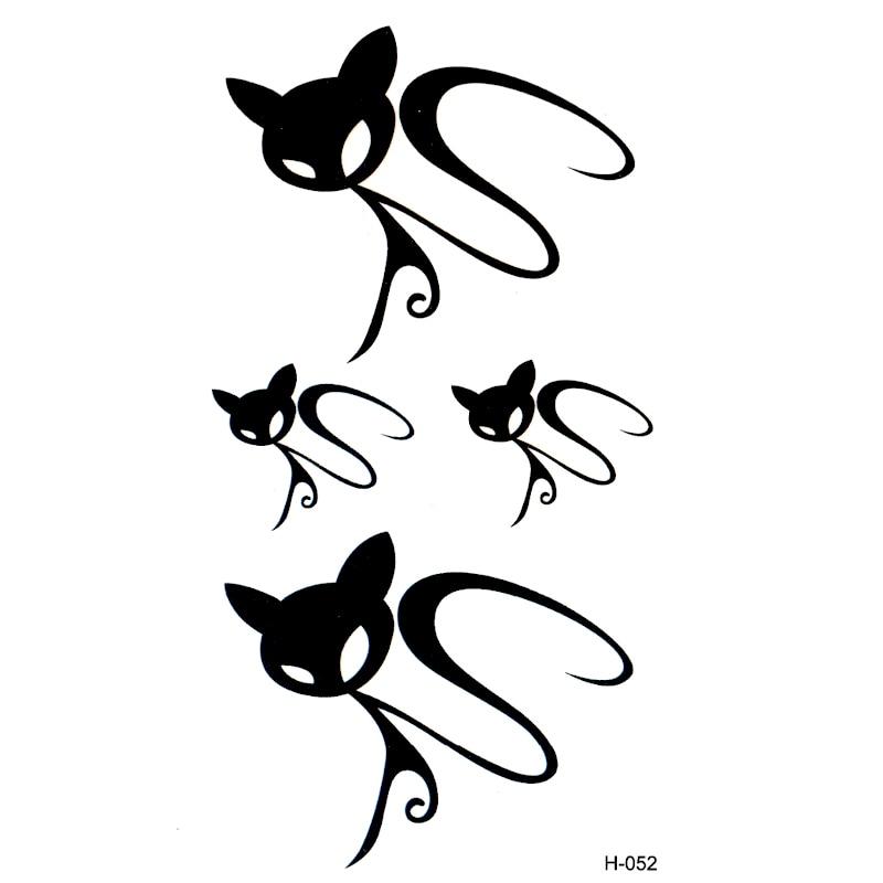 Invisible del gato negro tatoo impermeable tatuaje cuerpo arte flash ...