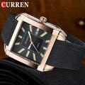 Nueva CURREN moda Casual cuarzo relojes hombres Luxury Brand correa de caucho 3ATM oro rosa impermeable reloj para hombre
