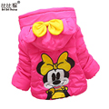 1-4yrsnew Baby Girls Winter Warm Minnie Bowtie Hooded Cartoon Coat Kids jacket outerwear Parka overcoat outfits toddler snowsuit