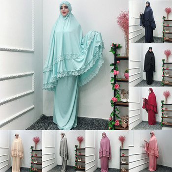 Muslim Dress Islam Clothing Hijab Women Ouble-Layered Large-Scale Mosque lace