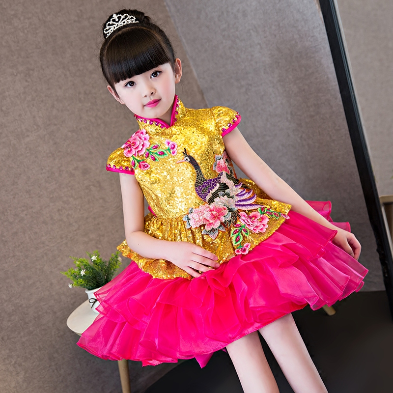 2017New Modern Fashion Girls Kids Embroidery Cheongsam Princess Dress Wedding QiPao CheongSam Chinese Traditional Children Dress red full length wedding dress elegant evening gowns chinese women embroidery flower qipao sexy cheongsam bride toast clothing