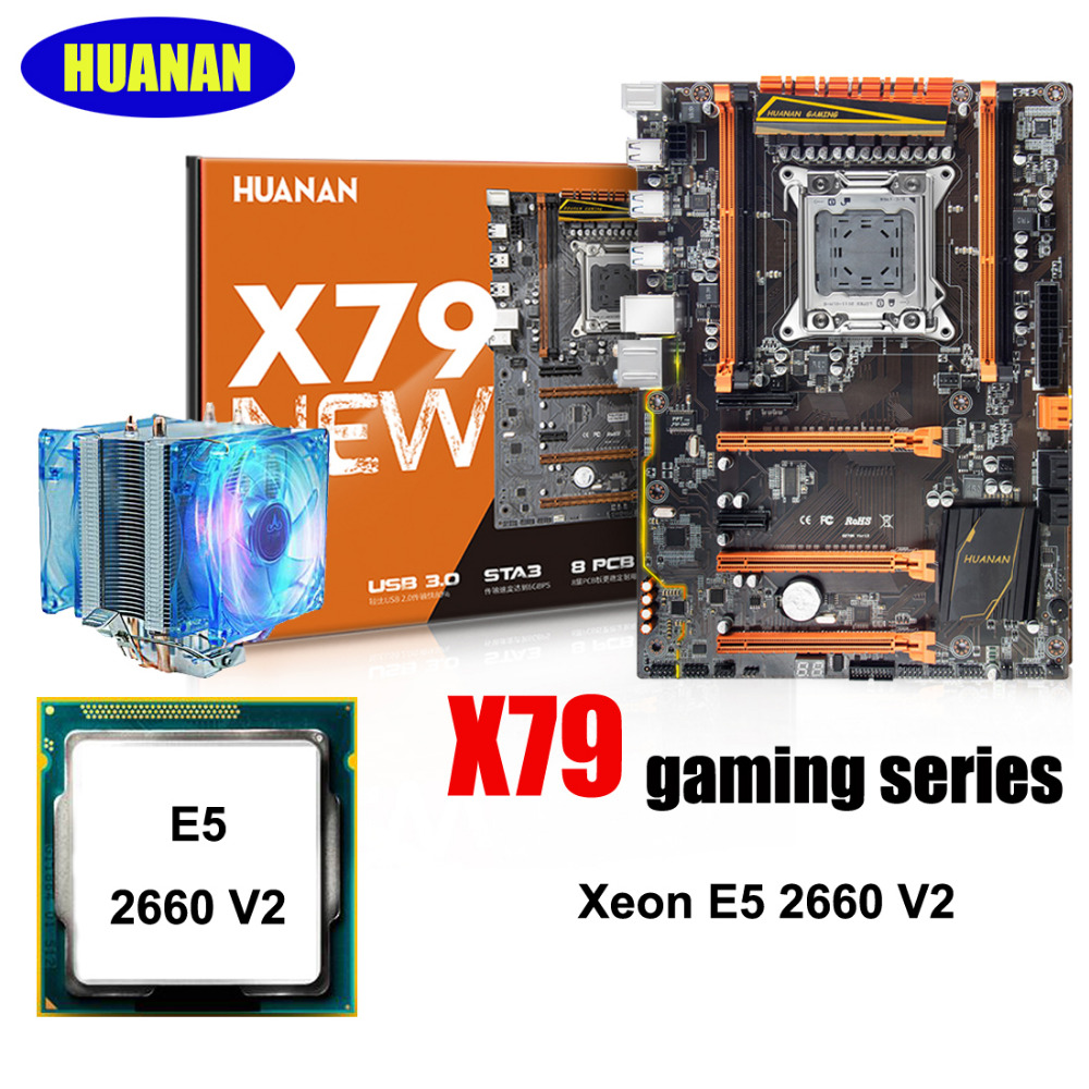 HUANAN X79 deluxe gaming motherboard CPU combos with CPU cooler X79 LGA2011 motherboard processor Xeon E5 2660 V2 all tested цена