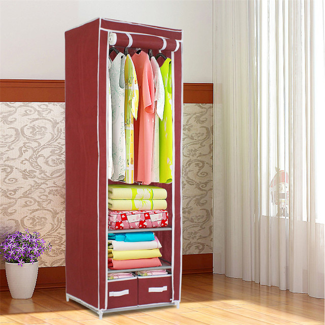 Finether Metal Framed Fabric Wardrobe Portable Closet Easy Cloth Steel Frame Single Storage Embly Folding