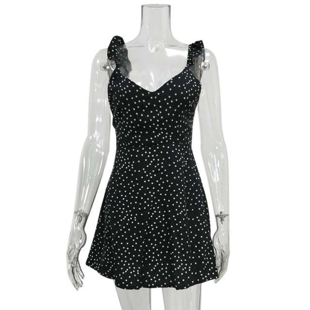 MISSKY 2019 Women Summer Dress Sleeveless V Neck A Line Sexy High Waist Dot Printing Back Lacing Straps Dress Female Clothes 5