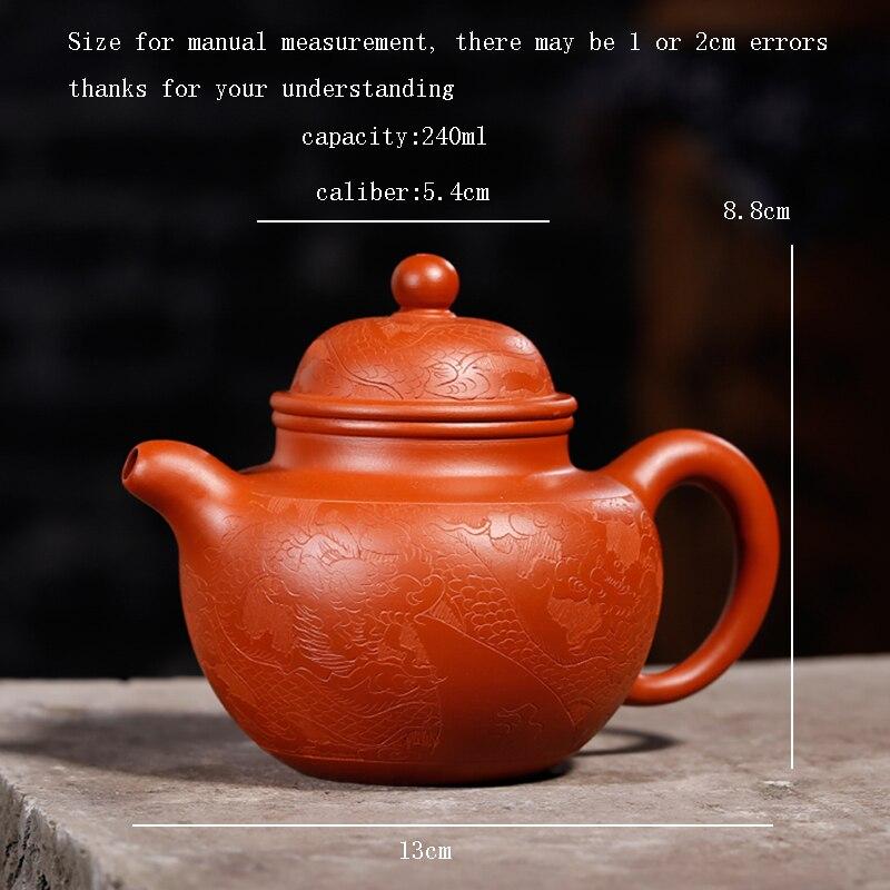 240 ML Yixing patrón Vintage auténtica tetera de arcilla púrpura todos los filtros hechos a mano Zisha tetera de té negro Raw mineral dhongpao olla regalo - 2