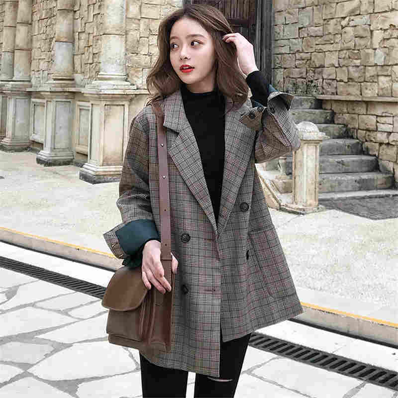 Korean New Fashion 2019 Vintage Plaid Women   Jacket   Double Breasted   Jackets   Outwear Runway Casual   Basic     Jacket   Loose N798T1