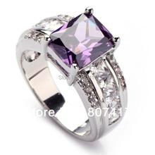 Regalo exquisito Lindo Dark Purple Cubic Zirconia anillo Plateado Recomendar R619 sz #6 7 8 9 10 Estilo Romántico Regalo de La Joyería Mujeres