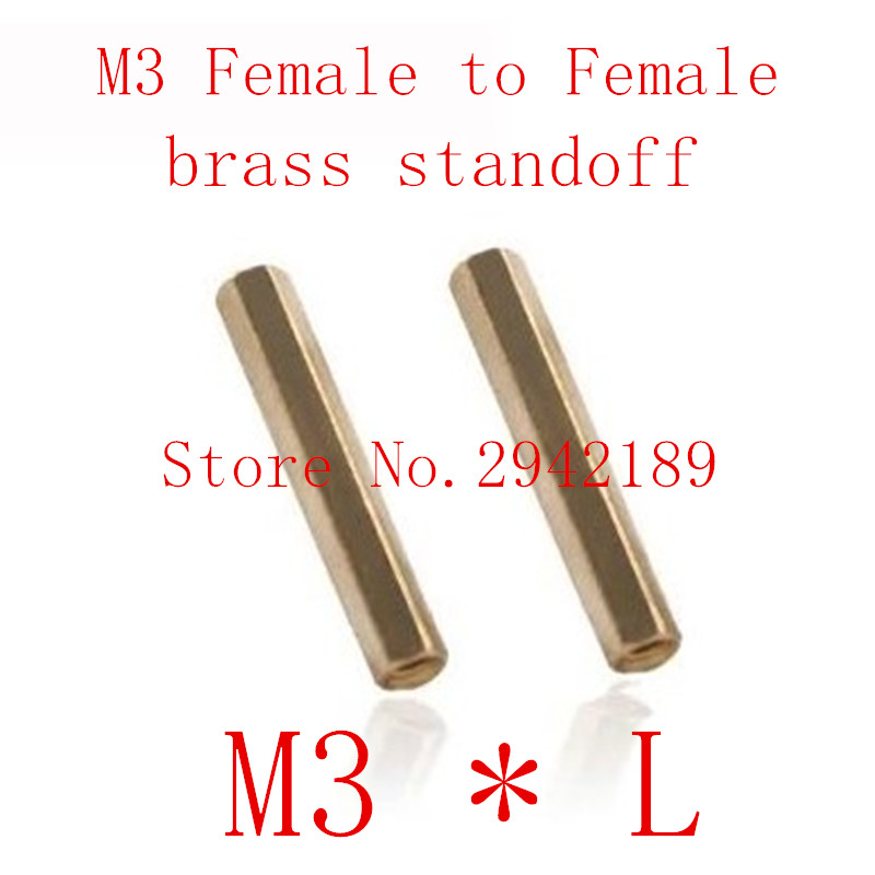 100pcs/lot <font><b>M3</b></font>*L <font><b>3mm</b></font> Brass Standoff Spacer Female Female Spacing <font><b>Screws</b></font> Hex Brass Threaded Spacer length <font><b>3mm</b></font> to 30mm image