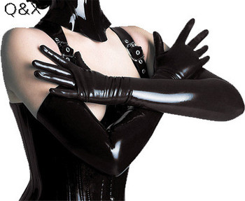 XX61 2017 Sexy Long Latex Gloves Black Ladies Hip-pop Fetish Faux Leather Clubwear Catsuit Cosplay Costumes