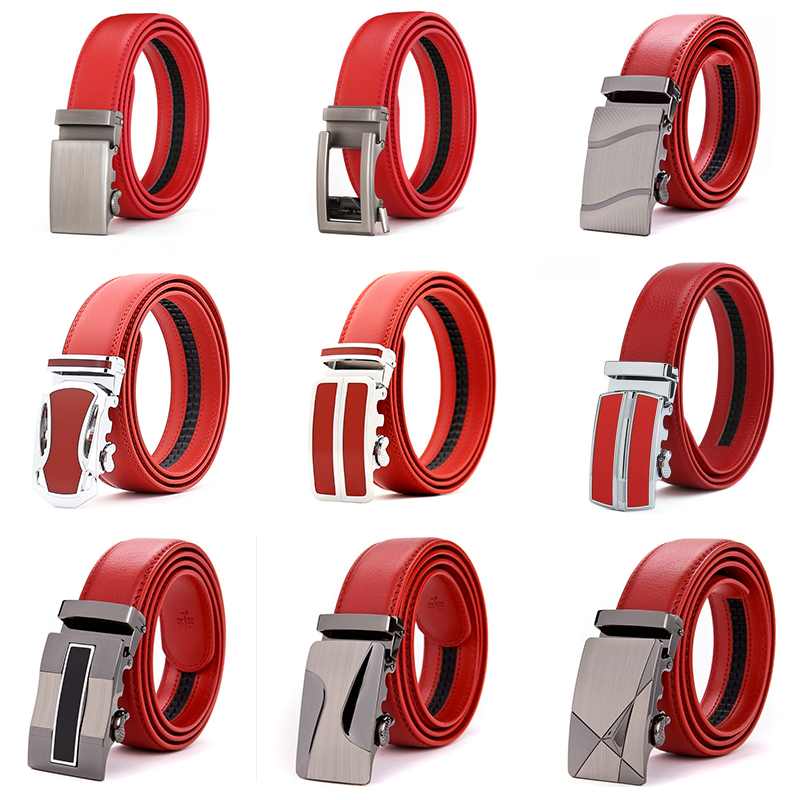 CETIRI 22 Style Men Genuine Leather Belt Cowskin Leather High Quality Male Fashion Jeans Chain Stretch Solid Luxury Brand Red