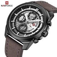 NAVIFORCE Top Brand Luxury Mens Quartz Watches 24 Hour Date Clock Men Fashion Leather Strap Sports