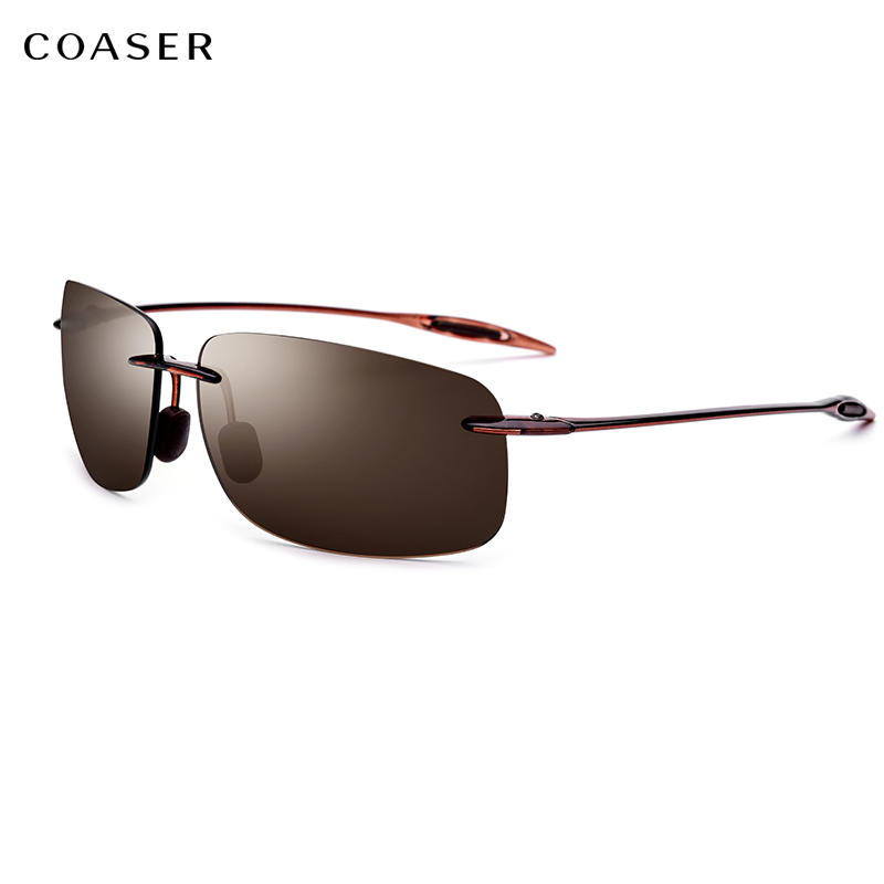 COASER NEW Ultem TR90 Rimless Sunglasses Ultralight High Quality Square Driving Sun Glasses For Women Brand Designer Nylon Lens