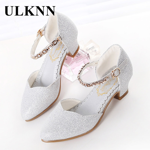 ULKNN Princess Girls Sandals Kids Shoes For Girls Dress Shoes Little High Heel Glitter Summer Party Wedding Sandal Children Shoe 4
