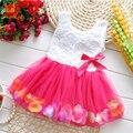 Mk 2016 ropa del bebé del verano muchachas de los cabritos hermosa flor dress mini sin mangas princesa tutu dress con baby girl dress 6 colores