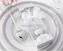 """""""Tea Time"""" Heart Tea Infuser in Elegant White Gift Box 100PCS/LOT+ wedding party favors gifts+Free shipping"""