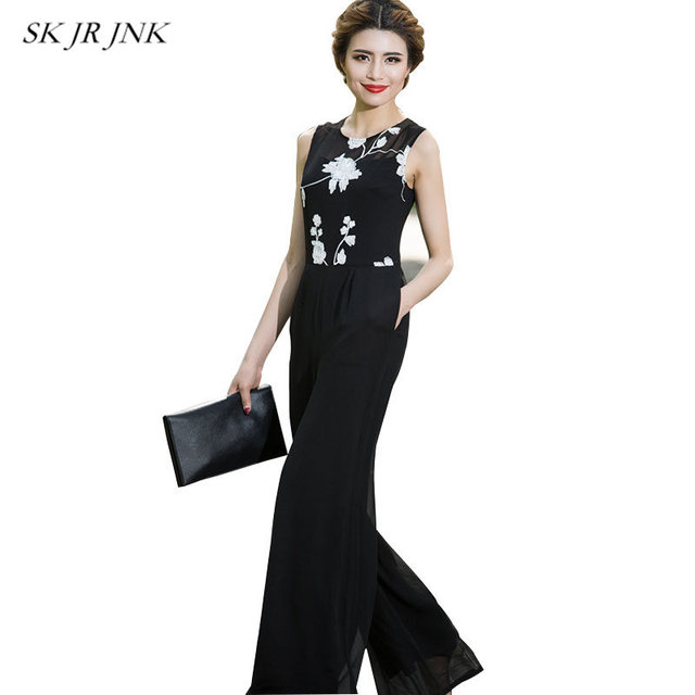 2018 Summer Chiffon Jumpsuits For Women Black Wide Leg Jumpsuit Pants Elegant O-Neck Sleeveless Embroidery Long Rompers LW169