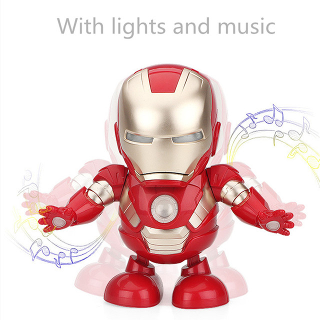 Marvel Avengers Iron Man Action Figure Toy Can Dance Electronic Toy Led Flashlight With Light Sound Music Robot Iron Man Hero
