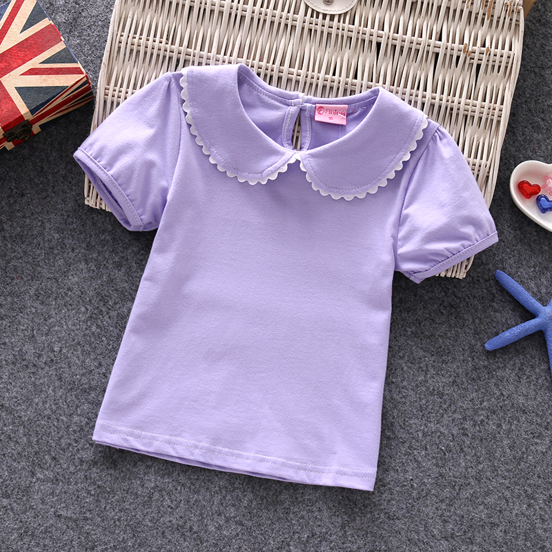 1-7y baby female children clothing t-shirts girls short sleeve sweet lovely cotton casual peter pan collar blouses tshirt