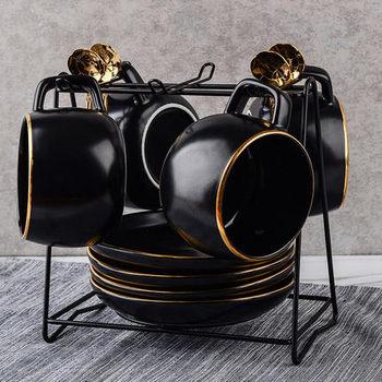 European Coffee Tea Set Household Simple Creative Black Personality 4 Piece Set Send Cup Dish Spoon Ceramic Water Cups