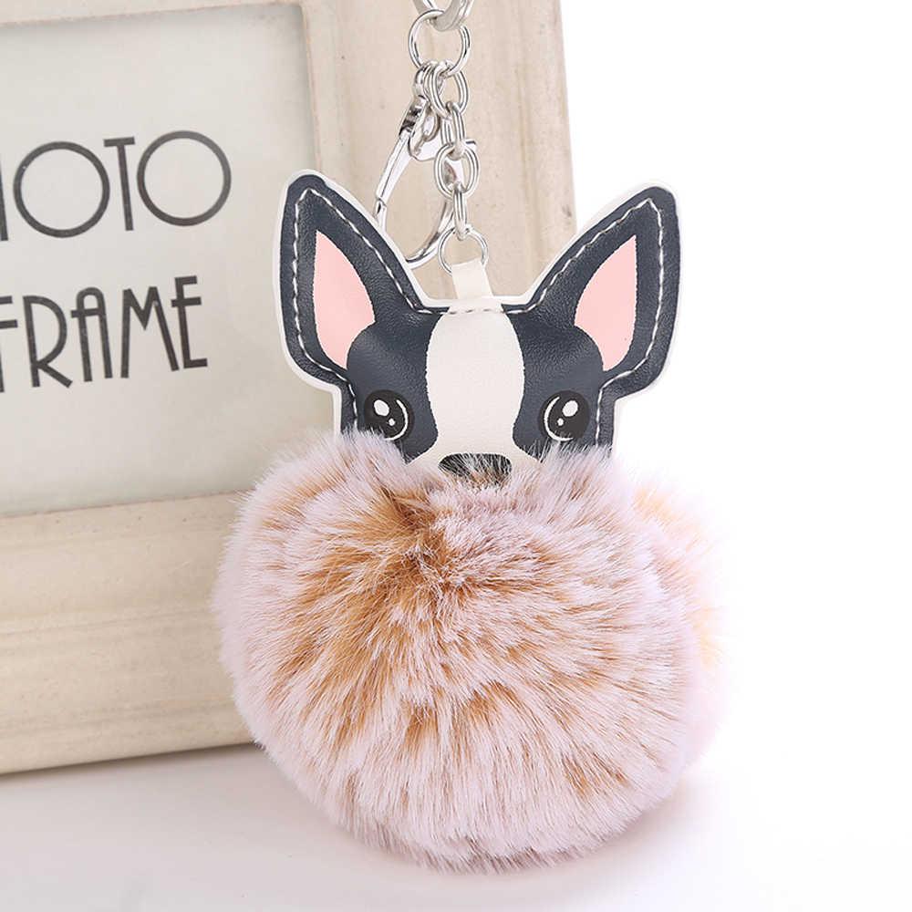 กระต่ายขนปุยลูกภาษาฝรั่งเศส Bulldog พวงกุญแจ Pompom พวงกุญแจ Pu หนังสัตว์เลี้ยงสุนัขพวงกุญแจกระเป๋า Charm Chaveiros