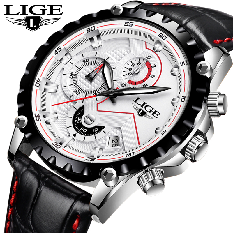 Men Watches Brand LIGE Men Quartz Watch Men Sport Leather Strap Men s Wristwatch Multifunction Business