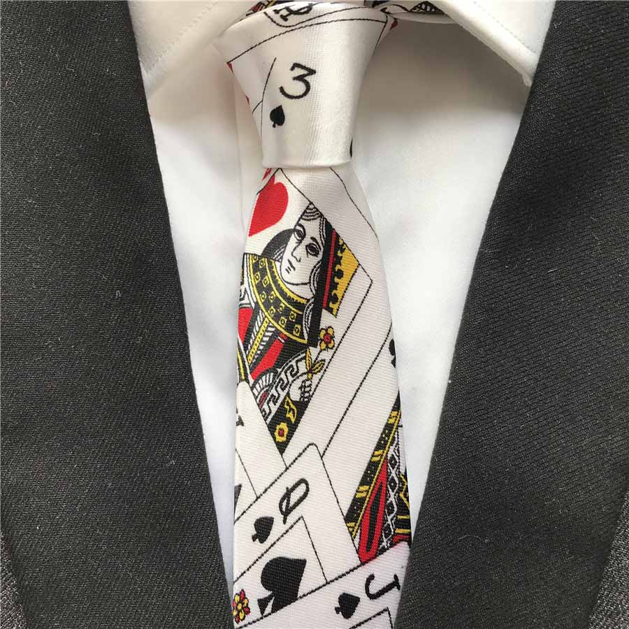 5cm Fashion Casual Skinny Tie Personality Poker Play Cards Pattern Necktie Cravat