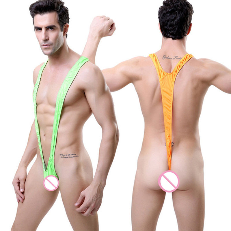 Men Lingerie Swimsuit Thong Mankini Stretch Open Sexy Hot Borat Deep V-Neck Beach