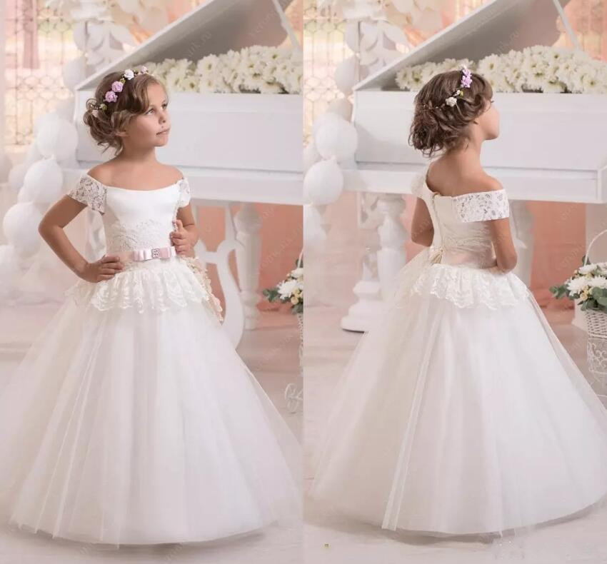 Flower Girl Dress 2018 Custom Made Off the shoulder Ball Gown First Communion Gowns Any Size plus size off the shoulder bodycon dress