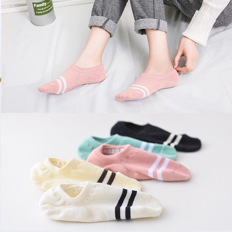 5Pairs  Arrivl Women Socks funny Fruits Cute Happy Silicone Slip Invisible Cotton Sock 35-40