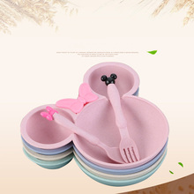 1 set wheat straw bowl children cartoon tableware baby dinner plate training Bowl spoon fork for kids without box