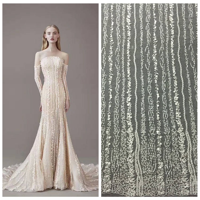 5yards Vintage ivory sequins lace fabric on tulle embroidery higher french lace bridal lace elegent wedding dress fabric