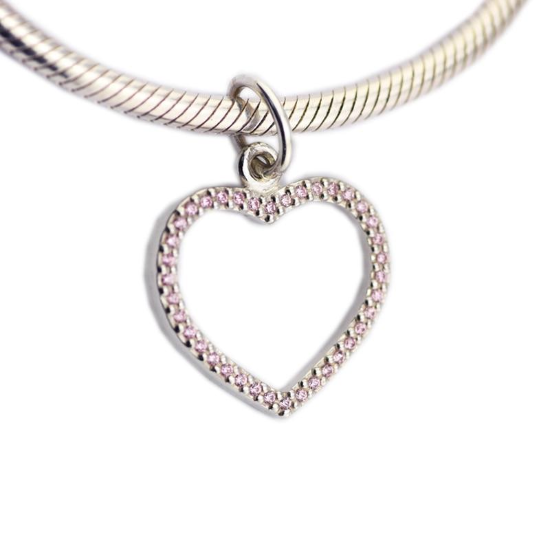 Atacado 925 Prata Esterlina Jóias contas Rosa das Mulheres Do Encanto Do Coração Com Zircon Encantos Beads Serve Pulseiras Moda Originais
