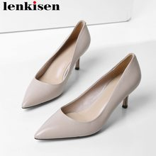 2019 European movie stars fashion show full grain leather stiletto high heels high quality wedding hot sales concise pumps L19(China)
