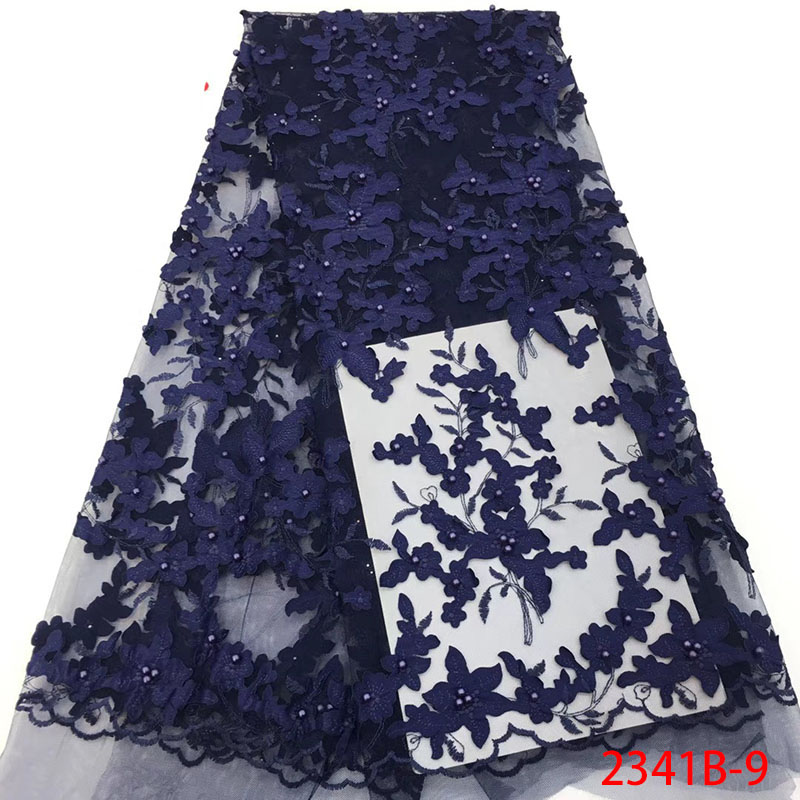 Navy Blue 3D Flowers French Lace Fabrics Beaded Embroidered African Mesh Tulle Lace Fabrics For Wedding