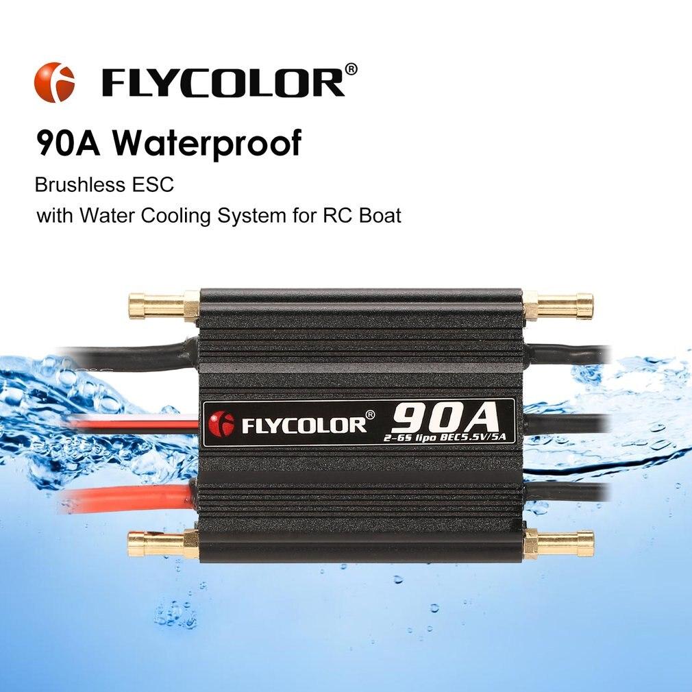 FLYCOLOR 2-6 originais S 90A Brushless Controlador de Velocidade ESC para RC Barco Navio À Prova D' Água com BEC 5.5V /5A Água de Refrigeração Syste
