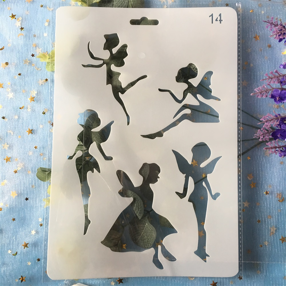 26cm Fairy Girl DIY Craft Layering Stencils Painting Scrapbooking Stamping Embossing Album Paper  Template