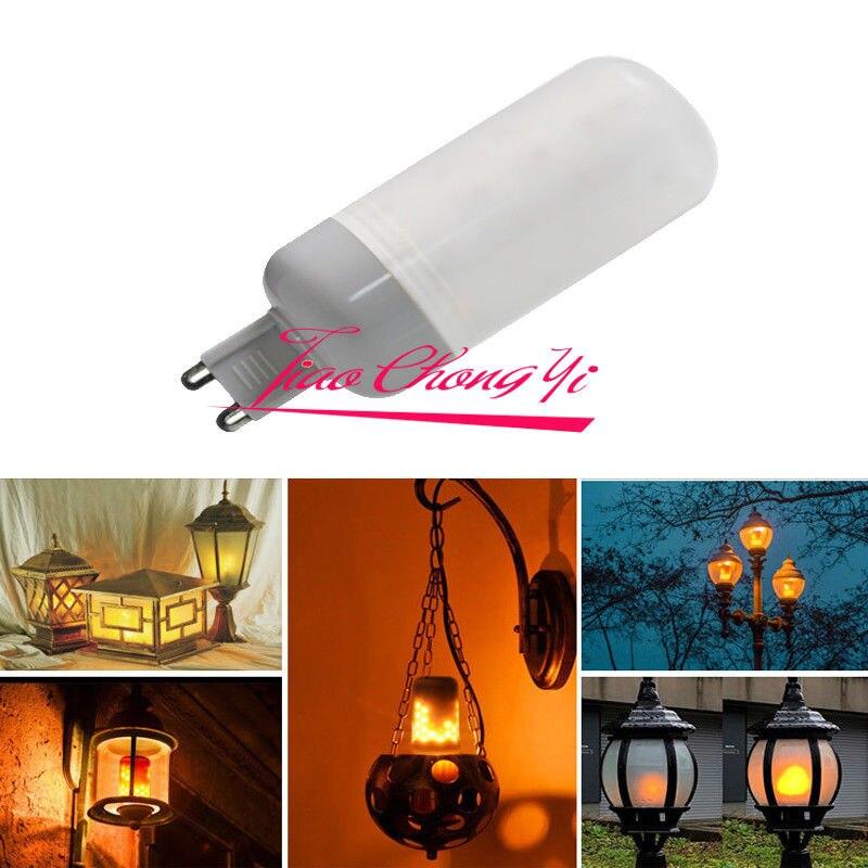 Lámpara decorativa G9 de 10X 3W LED con efecto de llama bombilla de maíz simulada de fuego natural