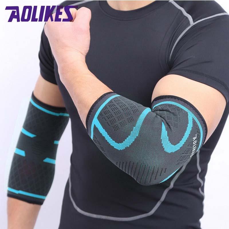 Aolikes 2 pçs esporte cotovelo cinta protetor de compressão ciclismo basquete braço manga para homem feminino tênis vôlei fitness ginásio
