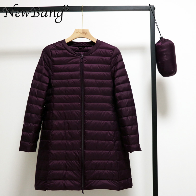 NewBang 4XL O-neck Mid-Long Women Ultra Light Down Jacket Portable Spring Coats Inner Wear In Winter Zipper
