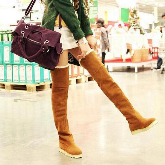 Winter Women Long Boots Over-the-Knee Flat Snow Boots Casual Warm Knee High Boots Thigh High Boots Shoes Woman Botas Femininas winter warm snow boots cotton shoes flat heels knee high boots women boots wholesale high quality