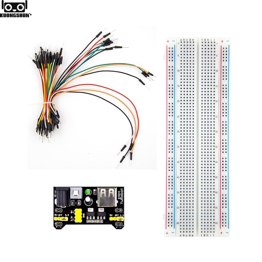 3.3V/5V MB102 Breadboard Power Module+MB-102 830 Points Solderless Prototype Bread Board Kit +65 Flexible Jumper Wires
