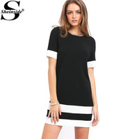 Sheinside Ladies Color Block Casual Mini Dresses New Summer Style Black White Patchwork Crew Neck Short