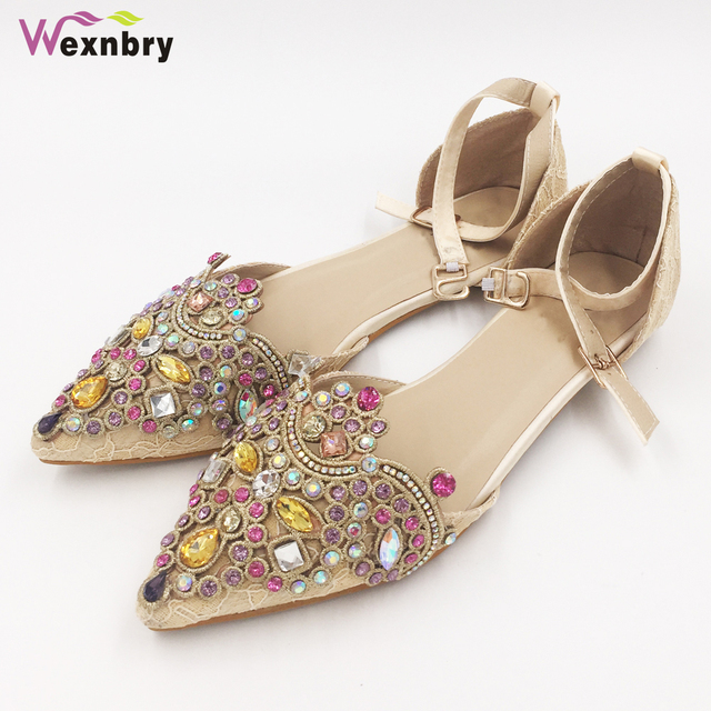 Wexnbry 2017 women s spring and summer shoes flats pointed toe rhinestone  flat button belt lace women s shoes plus size 43 cff0ffeda3a0