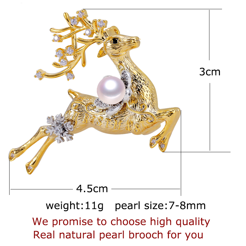 ZHBORUINI 2019 New Fine Jewelry Natural Freshwater Pearl Brooch Elk Brooch Pins Pearl Jewelry Women Dropshipping Christmas Gift in Hair Jewelry Brooches Body Jewelry from Jewelry Accessories