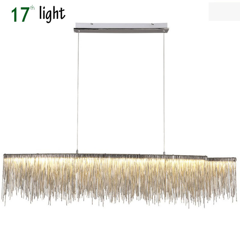 LA tessic Post modern designe Pendant Lights Nordic tassel restaurant luxury hotel engineering chain art hanging light image