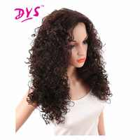 Deyngs 24inch Long Kinky Curly Synthetic Wigs For Black Women Brown Color Heat Resistant Natural African American None Lace Hair