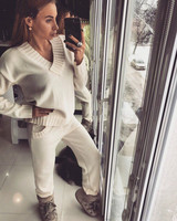 2019 Elastic Waist Full New Women's Knitting Suit Winter Warm And Pure Color V neck Knit Sweater + Trousers Two piece Of Women