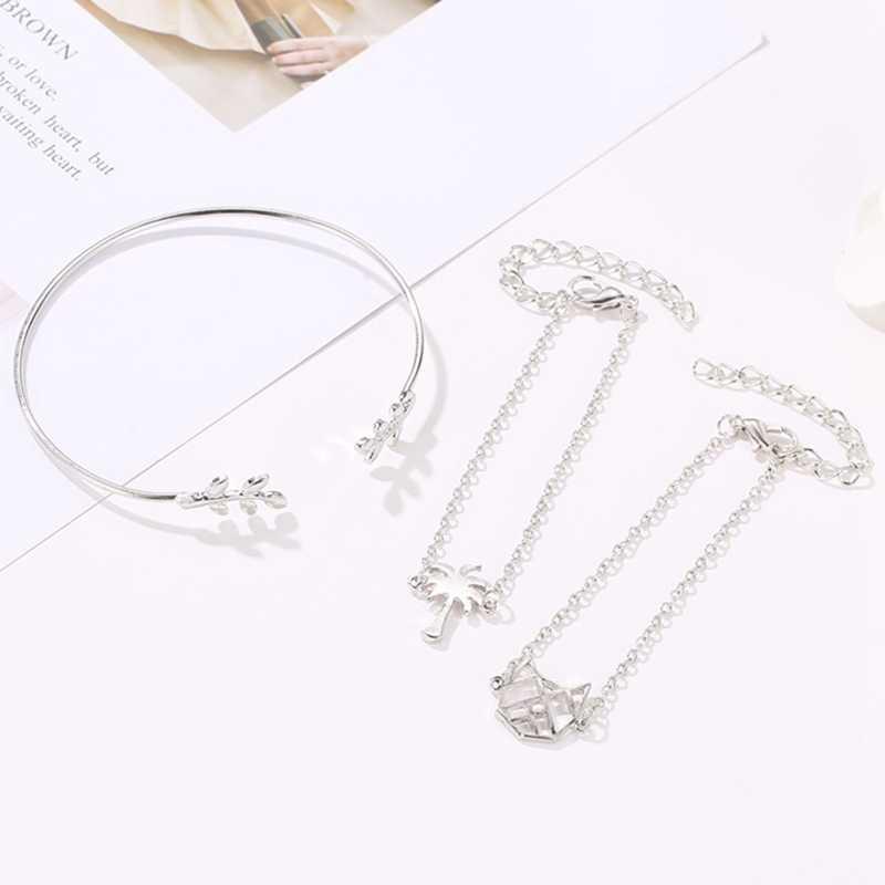 New 3pcs/set Gold Silver Alloy Open Cuff Bracelets/bangles Set Women Leafs Coconut Tree Link Chains Pendant Bracelet Female Gift