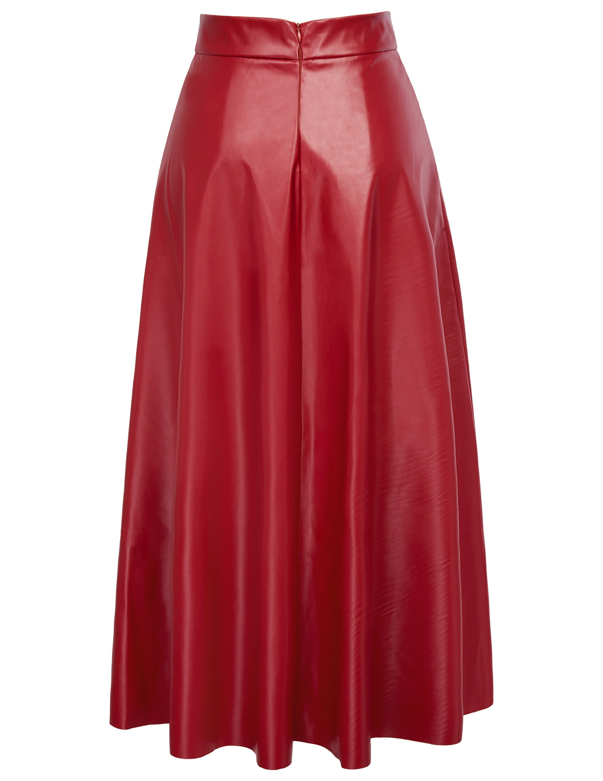 2018 Sping Summer Hot Sale New Arrivals Womens High Waist Synthetic Leather 38 Flared A-Line Skirt Freeshipping