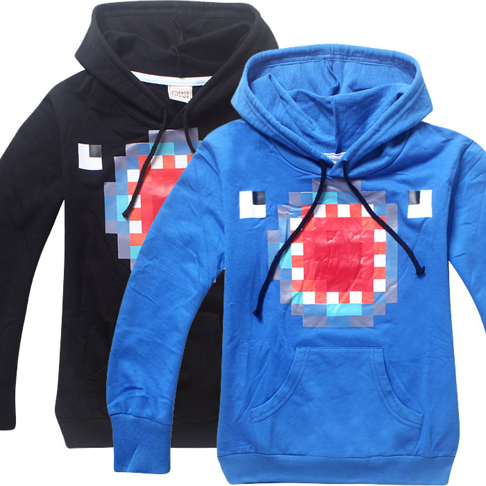 Dropshipping For Kids Black Pullover Cotton Sweatshirt Minecraft Creeper Pattern Children Clothes Hoodie Gift For Boys